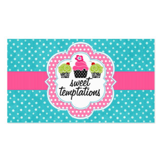 Turquoise Polka Dot Cupcake Bakery Double-Sided Standard Business Cards (Pack Of 100)