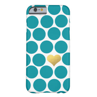 Turquoise Polka Dot Gold Foil Heart iPhone Barely There iPhone 6 Case