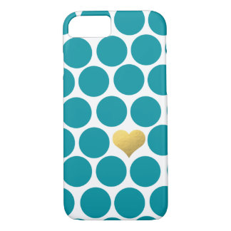 Turquoise Polka Dot Gold Foil Heart iPhone iPhone 7 Case