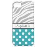 Turquoise Polka Dot Gray Zebra Print iPhone 5 Case
