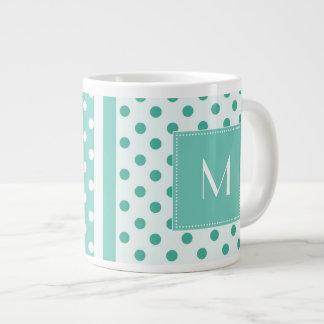 Turquoise Polka Dot Monogram Jumbo Mug 20 Oz Large Ceramic Coffee Mug