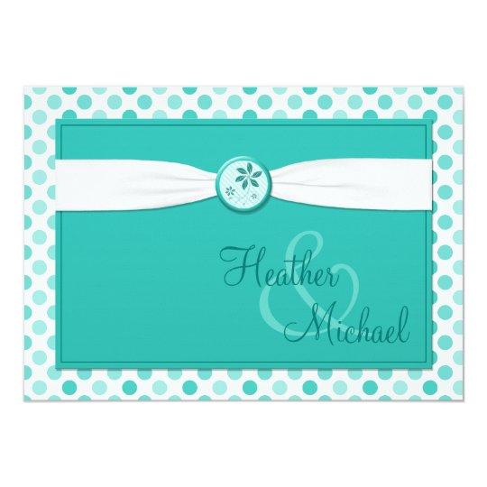 Turquoise Polka Dot Ribbon Wedding Invitation