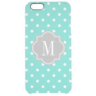 Turquoise Polka Dot with Gray Monogram Clear iPhone 6 Plus Case