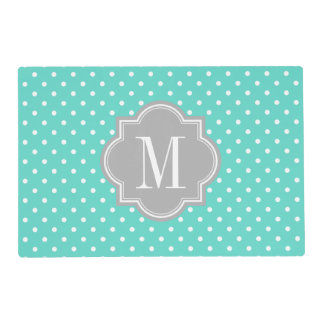 Turquoise Polka Dot with Gray Monogram Placemat
