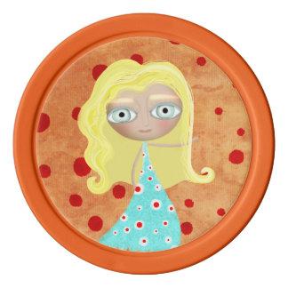 Turquoise Polka dots Doll Poker Chips Set