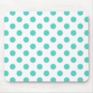 Turquoise polka dots mouse pad