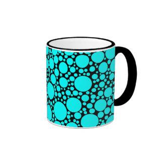 Turquoise Polka Dots Ringer Coffee Mug