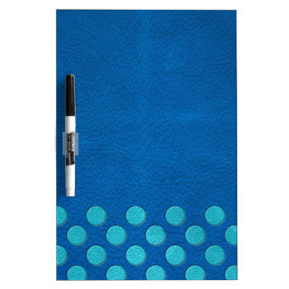 Turquoise Polka Dots on Lapis Blue Leather Texture Dry-Erase Board