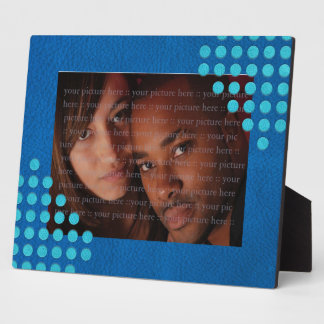 Turquoise Polka Dots on Lapis Blue Leather Texture Plaque