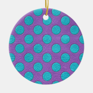 Turquoise Polka Dots on Purple Leather print Ceramic Ornament
