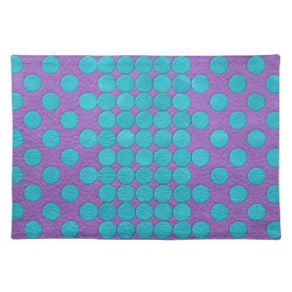Turquoise Polka Dots on Purple Leather print Cloth Placemat