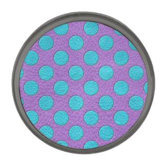 Turquoise Polka Dots on Purple Leather print Gunmetal Finish Lapel Pin