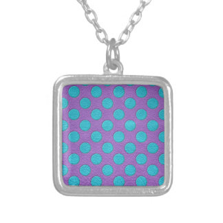 Turquoise Polka Dots on Purple Leather print Silver Plated Necklace