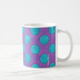 Turquoise Polka Dots on Purple Leather Texture Coffee Mug