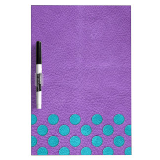 Turquoise Polka Dots on Purple Leather Texture Dry Erase Whiteboards