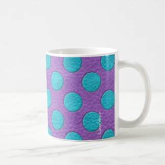 Turquoise Polka Dots on Purple Leather Texture Classic White Coffee Mug