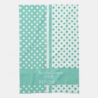 Turquoise Polka Dots Personalized Kitchen Towels