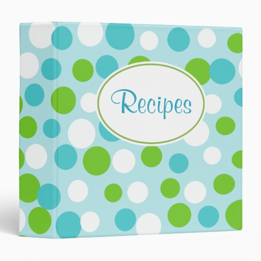 Turquoise Polka Dots Recipe Binder