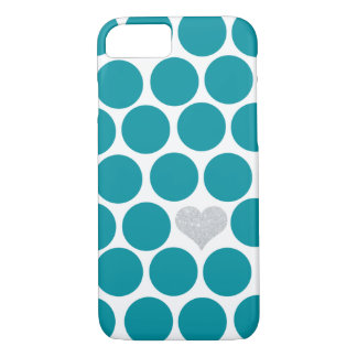 Turquoise Polka Dots Silver Glitter Heart iPhone 7 Case