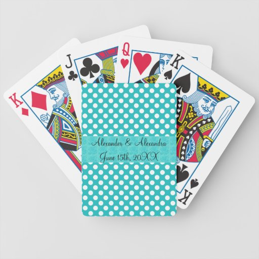 Turquoise polka dots wedding favors deck of cards