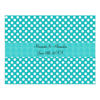 Turquoise polka dots wedding favors post cards