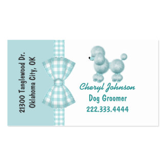 Turquoise Poodle Dog Groomer Business Card