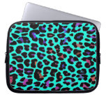 Turquoise Pop Leopard Print Computer Sleeve
