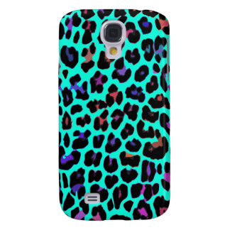 Turquoise Pop Leopard Print Galaxy S4 Cases