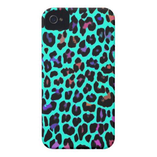 Turquoise Pop Leopard Print iPhone 4 Case