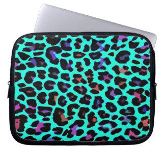 Turquoise Pop Leopard Print Laptop Sleeve