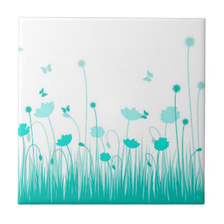 Turquoise poppies Tile