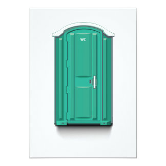 Turquoise Portable Toilet 5x7 Paper Invitation Card