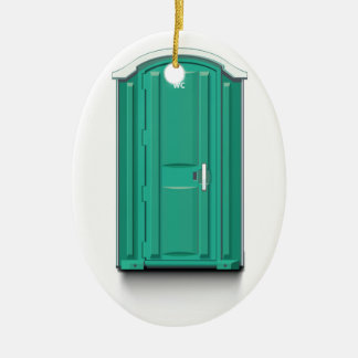 Turquoise Portable Toilet Double-Sided Oval Ceramic Christmas Ornament