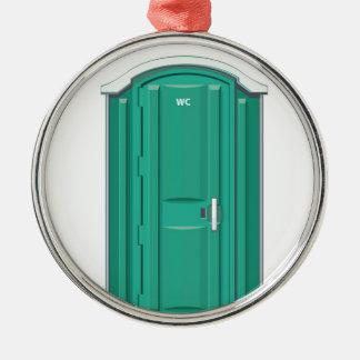 Turquoise Portable Toilet Round Metal Christmas Ornament