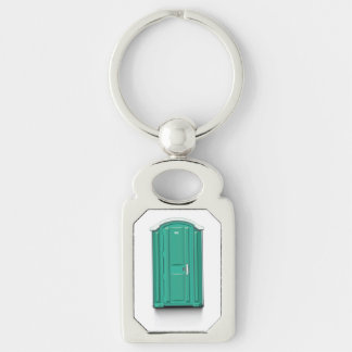 Turquoise Portable Toilet Silver-Colored Rectangular Metal Keychain