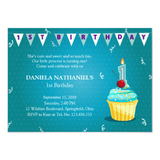 Turquoise Princess' Cupcake 1st Birthday Party Personalized Invite