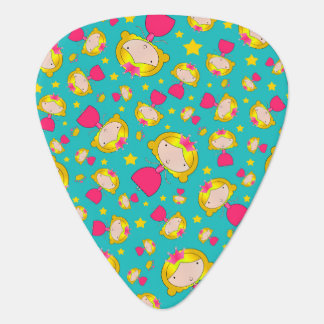 Turquoise princesses and stars guitar pick