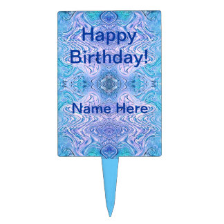 Turquoise Purple Abstract Cake Topper