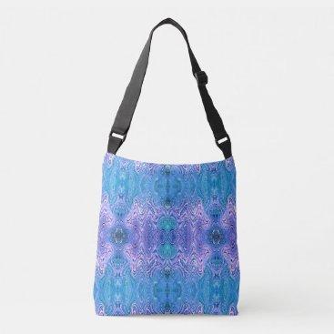 linda_mn Turquoise Purple Abstract Crossbody Bag