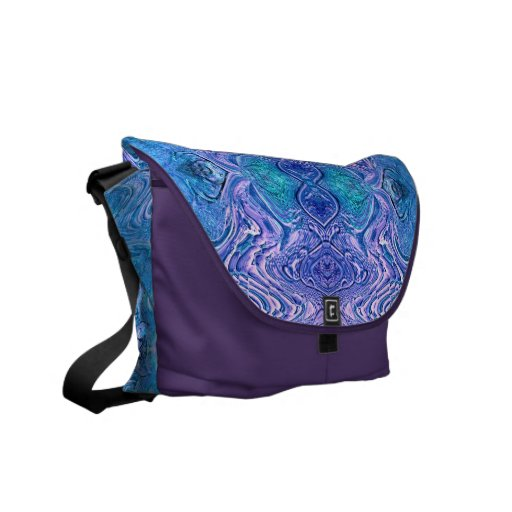 Turquoise Purple Abstract Faux Glass Courier Bag