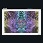 """Turquoise purple Abstract Fractal and Celtic Knot Decals For Laptops<br><div class=""""desc"""">Turquoise,  purple and green fractal abstract design with gold and silver metallic trim an a turquoise,  purple and silver Celtic Knot. In the Celt mythology the knot,  which has neither a beginning nor an end,  symbolizes eternity and the never-ending cycle of life. Keep your favorite laptop protected in style.</div>"""