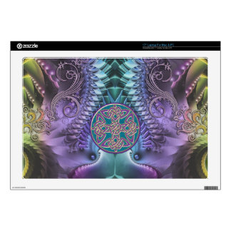 Turquoise purple Abstract Fractal and Celtic Knot Decals For Laptops