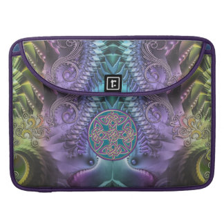 Turquoise Purple Abstract Fractal and Celtic Knot Sleeve For MacBook Pro