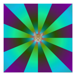 Turquoise Purple and Green Sunbeams + Cat Poster