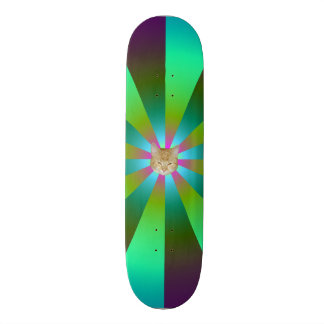 Turquoise Purple and Green Sunbeams + Cat Skate Board