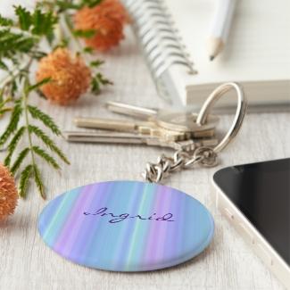 Turquoise Purple Blue Pastel Rainbow Keychain