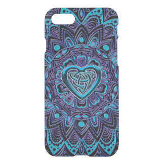 Turquoise Purple Celtic Heart Mandala iPhone Case