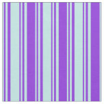 [ Thumbnail: Turquoise & Purple Colored Stripes Pattern Fabric ]