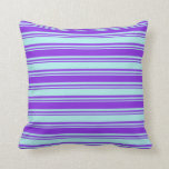 [ Thumbnail: Turquoise & Purple Colored Stripes Pattern Pillow ]