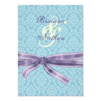 Turquoise & Purple Damask & Bow Wedding Invitation